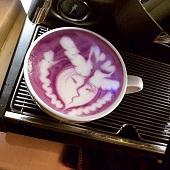 紫薯咖啡拉花作品